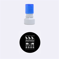 Holiday Party Attire Ugly Christmas Blue Background Rubber Round Stamps (Small)