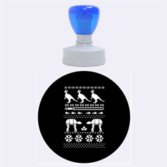 Holiday Party Attire Ugly Christmas Blue Background Rubber Round Stamps (Large)