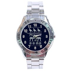 Holiday Party Attire Ugly Christmas Blue Background Stainless Steel Analogue Watch