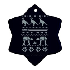 Holiday Party Attire Ugly Christmas Blue Background Snowflake Ornament (2-Side)