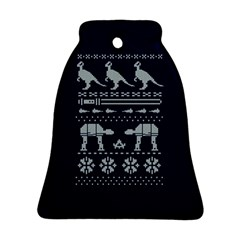 Holiday Party Attire Ugly Christmas Blue Background Bell Ornament (2 Sides)
