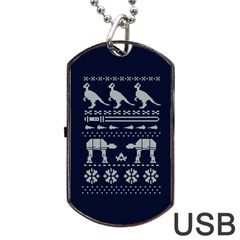 Holiday Party Attire Ugly Christmas Blue Background Dog Tag USB Flash (Two Sides)