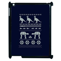 Holiday Party Attire Ugly Christmas Blue Background Apple iPad 2 Case (Black)