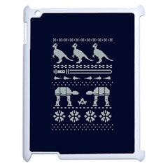 Holiday Party Attire Ugly Christmas Blue Background Apple Ipad 2 Case (white)