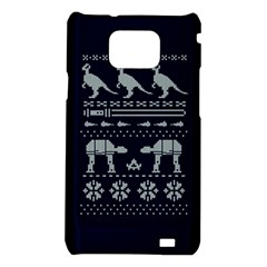 Holiday Party Attire Ugly Christmas Blue Background Samsung Galaxy S2 i9100 Hardshell Case