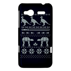 Holiday Party Attire Ugly Christmas Blue Background HTC Radar Hardshell Case