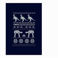 Holiday Party Attire Ugly Christmas Blue Background Small Garden Flag (two Sides)
