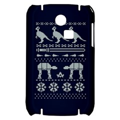 Holiday Party Attire Ugly Christmas Blue Background Samsung S3350 Hardshell Case
