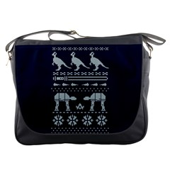 Holiday Party Attire Ugly Christmas Blue Background Messenger Bags