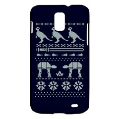 Holiday Party Attire Ugly Christmas Blue Background Samsung Galaxy S II Skyrocket Hardshell Case