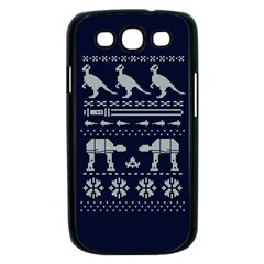 Holiday Party Attire Ugly Christmas Blue Background Samsung Galaxy S III Case (Black)