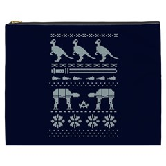 Holiday Party Attire Ugly Christmas Blue Background Cosmetic Bag (XXXL)