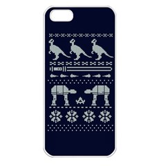 Holiday Party Attire Ugly Christmas Blue Background Apple iPhone 5 Seamless Case (White)