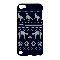 Holiday Party Attire Ugly Christmas Blue Background Apple iPod Touch 5 Hardshell Case