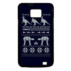 Holiday Party Attire Ugly Christmas Blue Background Samsung Galaxy S II i9100 Hardshell Case (PC+Silicone)