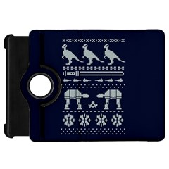 Holiday Party Attire Ugly Christmas Blue Background Kindle Fire HD Flip 360 Case