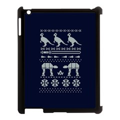 Holiday Party Attire Ugly Christmas Blue Background Apple iPad 3/4 Case (Black)