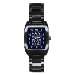 Holiday Party Attire Ugly Christmas Blue Background Stainless Steel Barrel Watch
