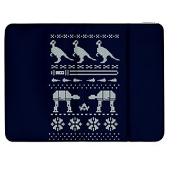Holiday Party Attire Ugly Christmas Blue Background Samsung Galaxy Tab 7  P1000 Flip Case
