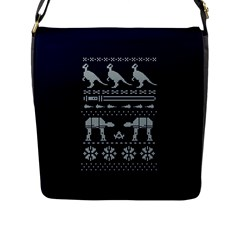 Holiday Party Attire Ugly Christmas Blue Background Flap Messenger Bag (L)