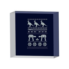 Holiday Party Attire Ugly Christmas Blue Background 4 x 4  Acrylic Photo Blocks