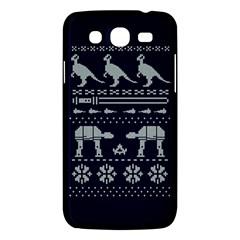 Holiday Party Attire Ugly Christmas Blue Background Samsung Galaxy Mega 5.8 I9152 Hardshell Case