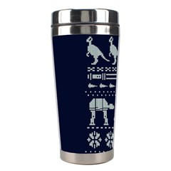 Holiday Party Attire Ugly Christmas Blue Background Stainless Steel Travel Tumblers