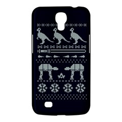 Holiday Party Attire Ugly Christmas Blue Background Samsung Galaxy Mega 6.3  I9200 Hardshell Case
