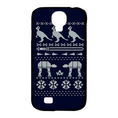 Holiday Party Attire Ugly Christmas Blue Background Samsung Galaxy S4 Classic Hardshell Case (PC+Silicone)