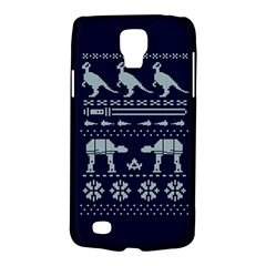 Holiday Party Attire Ugly Christmas Blue Background Galaxy S4 Active