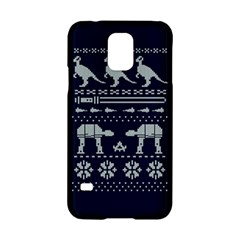 Holiday Party Attire Ugly Christmas Blue Background Samsung Galaxy S5 Hardshell Case