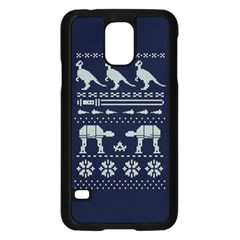 Holiday Party Attire Ugly Christmas Blue Background Samsung Galaxy S5 Case (black)