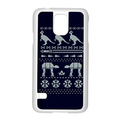 Holiday Party Attire Ugly Christmas Blue Background Samsung Galaxy S5 Case (White)