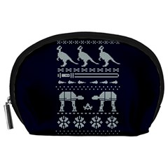 Holiday Party Attire Ugly Christmas Blue Background Accessory Pouches (Large)