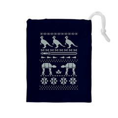 Holiday Party Attire Ugly Christmas Blue Background Drawstring Pouches (Large)