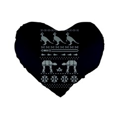 Holiday Party Attire Ugly Christmas Blue Background Standard 16  Premium Flano Heart Shape Cushions