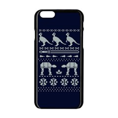 Holiday Party Attire Ugly Christmas Blue Background Apple iPhone 6/6S Black Enamel Case