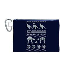Holiday Party Attire Ugly Christmas Blue Background Canvas Cosmetic Bag (M)