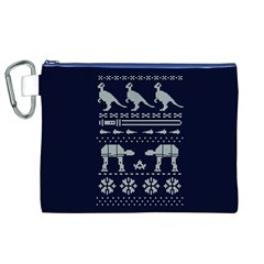 Holiday Party Attire Ugly Christmas Blue Background Canvas Cosmetic Bag (XL)
