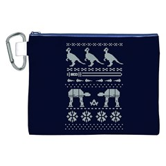 Holiday Party Attire Ugly Christmas Blue Background Canvas Cosmetic Bag (XXL)