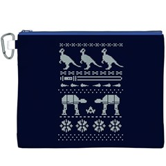 Holiday Party Attire Ugly Christmas Blue Background Canvas Cosmetic Bag (XXXL)