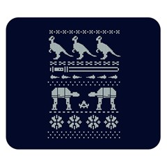 Holiday Party Attire Ugly Christmas Blue Background Double Sided Flano Blanket (Small)