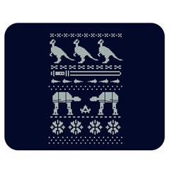 Holiday Party Attire Ugly Christmas Blue Background Double Sided Flano Blanket (Medium)