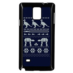 Holiday Party Attire Ugly Christmas Blue Background Samsung Galaxy Note 4 Case (Black)