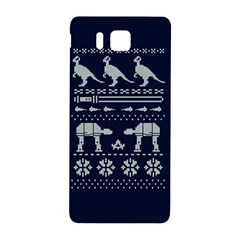 Holiday Party Attire Ugly Christmas Blue Background Samsung Galaxy Alpha Hardshell Back Case