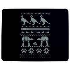 Holiday Party Attire Ugly Christmas Blue Background Jigsaw Puzzle Photo Stand (Rectangular)