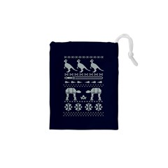 Holiday Party Attire Ugly Christmas Blue Background Drawstring Pouches (xs)