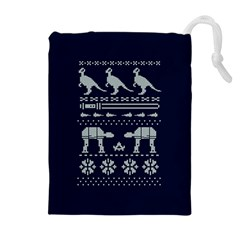 Holiday Party Attire Ugly Christmas Blue Background Drawstring Pouches (Extra Large)