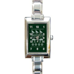 Holiday Party Attire Ugly Christmas Green Background Rectangle Italian Charm Watch