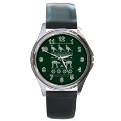 Holiday Party Attire Ugly Christmas Green Background Round Metal Watch